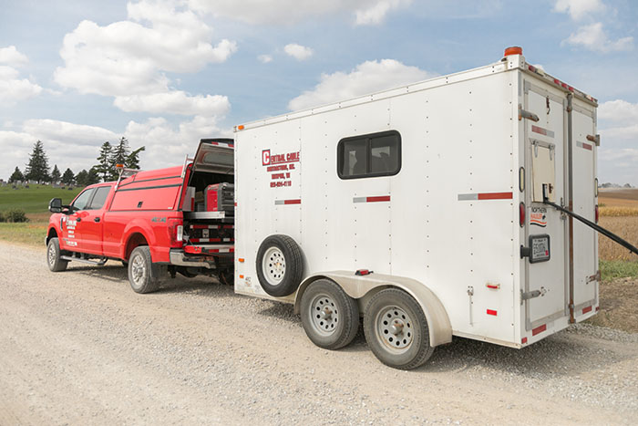 central cable work truck and trailer